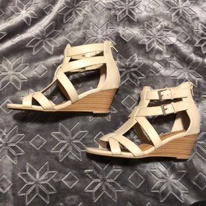 Cream colored open toed wedges